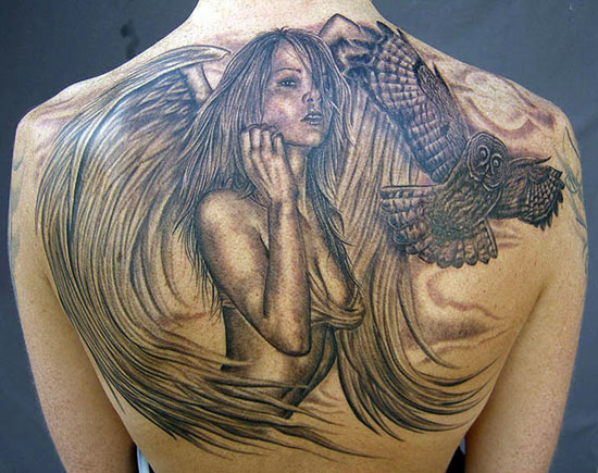 Mike DeVries - Angel and Owl Tattoo
